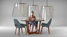 christophe gernigon's suspended shields imagine future of restaurant dining - Dr Wong - Emporium of Tings. Amsterdam Restaurant, Deco Restaurant, Restaurant Design, Restaurant Ideas, Designer Français, Feng Shui, Cloche, Paris Restaurants, Solution