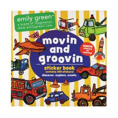 movin' and groovin colorful adhesive stickers, includes 1 page of emily green's outlined drawing stickers for kid's to color in and create their very own.  Let your imagination go wild with these super fun filled stickers! $9