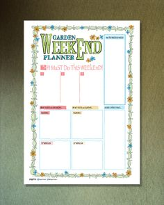 Printable Garden Weekend planner by PygmyStore on Etsy