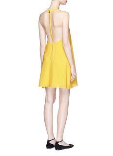 ALICE + OLIVIA'Holland' plunge neck T-back silk dress