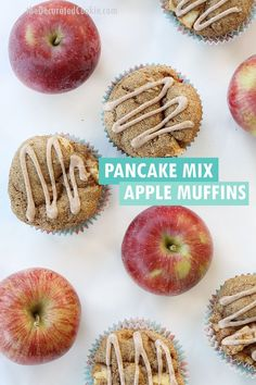 How to make whole wheat PANCAKE MIX APPLE MUFFINS - a sweet and healthy Fall treat for breakfast or a kid-friendly snack.