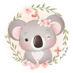 Cute doodle koala bear with floral illus... | Premium Vector #Freepik #vector Baby Animal Drawings, Cute Drawings, Doodles Bonitos, Cute Koala Bear, Watercolor Flower Background, Flower Watercolor, Art Origami, Cute Doodles, Animal Illustrations