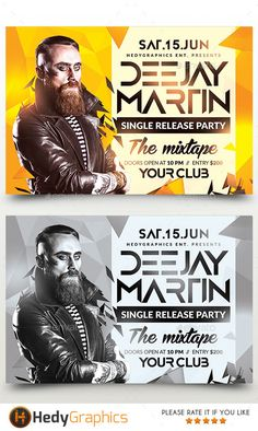 Artist Flyer — Photoshop PSD #artist #electro • Available here → https://graphicriver.net/item/artist-flyer/19463785?ref=pxcr