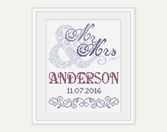 Wedding Cross Stitch Pattern - Mr & Mrs Cross Stitch - Scheme for Cross Stitch- Wedding Gift - Embroidery- PDF - INSTANT DOWNLOAD by PatternStitchShop on Etsy
