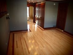 maple with Brazilian cherry trim, wood floors. Lighter grey for our bedroom and living room with our dark trim.