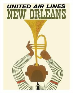 New Orleans - Jazz Trumpet Player - United Air Lines Giclee Print at Art.com