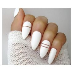 White Matte Stiletto Nails ❤ liked on Polyvore featuring beauty products, nail care, nail treatments and nails