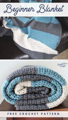 Beginner Crochet Blanket Pattern featuring simple crochet stitches and color blocked stripes. Free Crochet Pattern from Rescued Paw Designs blanket patterns easy simple Color Blocked Stripes Crochet Blanket Pattern - Easy Crochet Crochet Diy, Crochet Afghans, Crochet Pattern Free, Striped Crochet Blanket, All Free Crochet, Knitting Patterns, Simple Crochet Blanket, Crochet Ideas, Easy Crochet Blanket Patterns