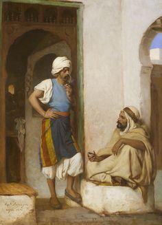 Hippolyte Lazerges (1817-1887) Devant le café maure, Alger Huile sur toile signée, datée et située alger 1882 en bas à droite 65 x 46,7 cm   - Galerie Ary Jan