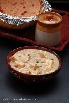 Paneer korma - tasty and easy to make kurma recipe with paneer (cottage cheese). Easy to make and tasty side dish for chapati, roti, naan and pulka. Paneer Korma Recipe, Paneer Recipes, Veg Recipes, Curry Recipes, Vegetarian Recipes, Indian Cheese, Vegetarian Gravy, How To Make Paneer