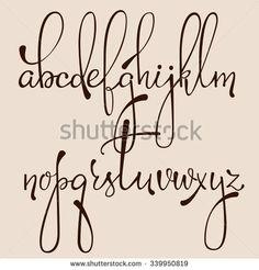 Handwritten pointed pen ink style decorative calligraphy cursive font. Calligraphy alphabet. Cute calligraphy letters. Isolated letter elements. Typography, decorative graphic design.                                                                                                                                                     More #Fonts