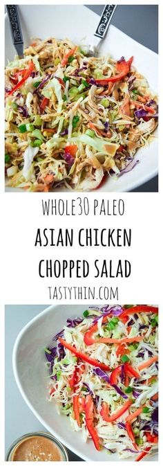 Asian Chicken Chopped Salad (Whole30 Paleo) - a deliciously nutritious salad with a sweet and tangy Asian dressing, free of soy or sugar! | tastythin.com #LiverDetoxDietitianApproved