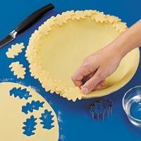 Leaf Trim: For a single-crust pie. Make enough pastry for a double crust. Line a 9-in. pie plate with the bottom pastry and trim pastry even with edge of pie plate. Roll out remaining pastry to 1/8-in. thickness. Cut out leaf shapes using cookie cutters. With a sharp knife, score pastry to create leaf veins. Brush bottom of each leaf with water. Place leaves around the edge of crust; press lightly to secure. Cover with foil to protect edges from overbrowning. --Taste of Home Test Kitchen
