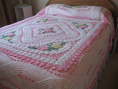 Pink Plush  Vintage Chenille Bedspread by thatshop on Etsy, $225.00
