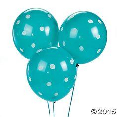 Turquoise Polka Dot Latex Balloons