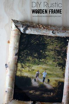 Rustic Birch Wood Frame - Love Create Celebrate. DIY tutorial for making a beautiful #rustic picture frame. #birch #wood #rustic