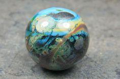 Into the Fire Lampwork Art Beads ~Blue Jupiter~ Artist handmade glass focal bead