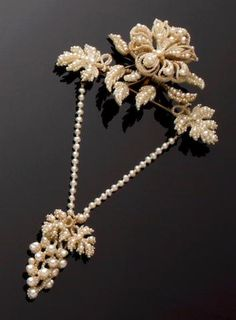 A mid 19th century seed pearl part-suite