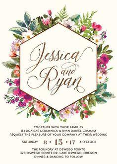 Gorgeous modern floral wedding invitation
