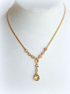 $68 NWT GIVENCHY TEARDROP CRYSTAL Y NECKLACE ROSE GOLD TONE #Givenchy #Pendant