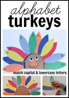 Alphabet Turkeys:  Match capital letters on the feathers to lowercase letters on the turkey's body!