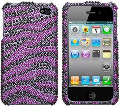 myLife Purple, Pink, and Black {Glamorous Rhinestone Zebra Stripes} 2 Piece Snap On Hardshell Plates Case for the iPhone 4/4S (4G) 4th Generation Touch Phone (Clip Fitted Front and Back Solid Cover Case + Rubberized Tough Armor Skin) myLife Brand Products http://www.amazon.com/dp/B00UKGHEXU/ref=cm_sw_r_pi_dp_dHbjvb1XKTJR7