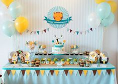 35 Ideas Birthday Party Table Set Up Layout Baby Shower For 2019 Birthday Party Tables, First Birthday Parties, First Birthdays, Elephant Birthday, Baby Birthday, Deco Cupcake, Decoracion Baby Shower Niña, Daniel Tiger Birthday, Year Of The Tiger