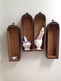 Repurposed sewing cabinet drawers turned storage