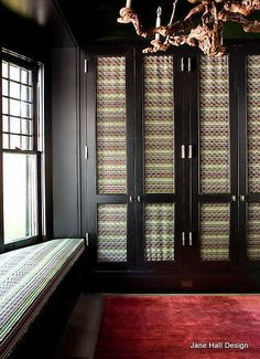 Eclectic Style dressing room from designer Steven Grambell Dressing Room Closet, Dressing Room Design, Dressing Rooms, Warren House, Door Dividers, Window Seat Cushions, Black Rooms, Wardrobe Doors, Closet Doors
