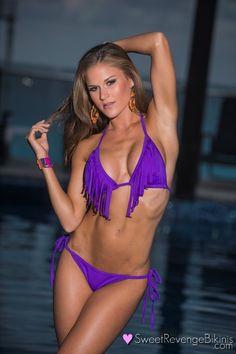 Purple Fringe: One Bottom Two Tops (Triangle & Bandeau) Polka Dot Bikini, Polka Dots, Fringe Bikinis, Swimsuits, Swimwear, Sexy Bikini, Purple, Model, Triangle