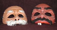 """Masks attributed to """"Carpa Clash,"""" a play written by Culture Clash as a tribute to United Farm Workers leader Cesar Chavez, using the tradition of a """"carpa"""" or Mexican tent show, to tell their story. The play was performed at the Mark Taper Forum in Los Angeles. The Latino/Chicano comedy troupe Culture Clash began on Cinco de Mayo, 1984 at René Yáñez's Galeria de la Raza in San Francisco, California. Latino Cultural Heritage Digital Archives."""