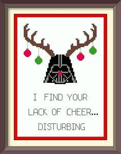 Holiday Spirit Darth Vader Star Wars Cross Stitch Pattern Instant Download Christmas Buy one pattern get your second pattern FOR A DOLLAR!
