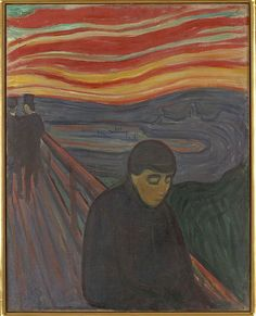 Despair, 1894. Edvard Munch (1863 - 1944) was a Norwegian painter and printmaker whose intensely evocative treatment of psychological themes built upon some of the main tenets of late 19th-century Symbolism and greatly influenced German Expressionism in the early 20th century.