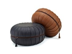 Upholstered leather pouf with removable lining ANNA by FREIFRAU design Anne Lorenz