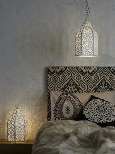 Winter ferns ETHNIC headboard covered in fabric Black and White Moroccan Bedroom. Moroccan Design, Moroccan Decor, Moroccan Style, Moroccan Lanterns, Design Marocain, Style Marocain, Moroccan Bedroom, Moroccan Interiors, Decoration Inspiration