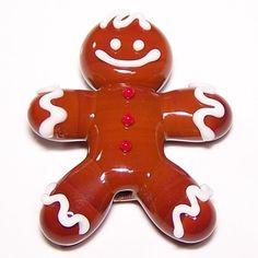 Gingerbread Man Glass Bead