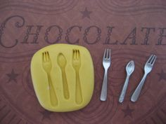 Silverware cutlery utensil silicone flexible miniature mold for polymer clay 3.25