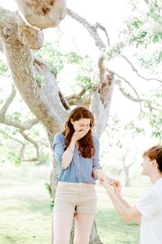 Cute apple orchard engagement