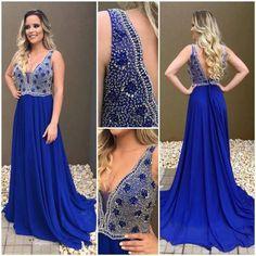 royal blue chiffon beaded top long prom dress, PD3782