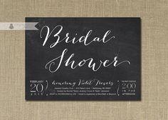 Chalkboard Bridal Shower Invitation White & Black Chalkboard Script Classic Elegant Modern Printable Digital or Printed - Violet Style