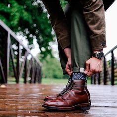 brickmortarseattle Alden x Brick + Mortar Brown Alpine Grain NST Boot, as seen on // Alden Indy Boot, Alden Boots, Mens Leather Accessories, Men's Shoes, Dress Shoes, Fashion Boots, Mens Fashion, Country Boots, Red Wing Boots