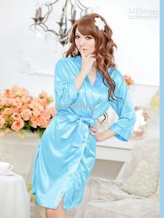 For the Brides and Maids to Get Ready - Wholesale Tie Front Satin blue Lady Gown Sexy Women Sleepwear Hot Sell Robe Nightwear New Style cloths, Free shipping, $4.18-4.78/Piece   DHgate