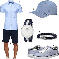 Sommer-Outfit für Herren mit hellblauem Kayhan Hemd, Daniel Wellington Uhr, Djinns Cap, Indicode Shorts, Fischer's Fritze Armband und Tommy Hilfger Schuhen.