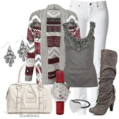 Winter white and awesome boots ~ Great holiday casual outfit!