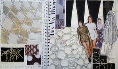 Fashion Sketchbook - fashion design research & development with experimental textile samples - cool layouts; fashion portfolio