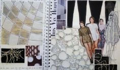 Fashion Sketchbook - fashion design research & development with experimental textile samples - cool layouts; fashion portfolio