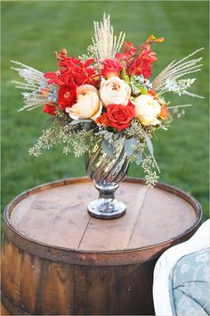 use wine barrels as side tables #weddingideas