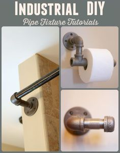 Achieving an Industrial Décor with Black Iron Pipe – Tutorials for pipe shower curtains, pipe toilet paper holders, and pipe towel holders