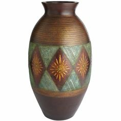 Turquoise & Gold Diamond Floor Vase