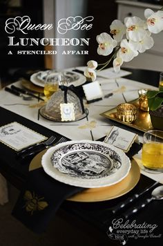 Queen Bee Luncheon, French Bee Stencil, Royal Design Studio Stecil